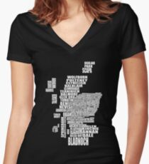 Distillery Map of Scotland Women's Fitted V-Neck T-Shirt