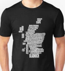 Distillery Map of Scotland Unisex T-Shirt