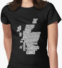 Distillery Map of Scotland Women's Fitted T-Shirt