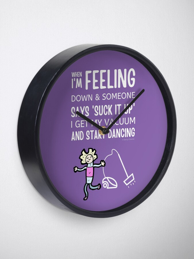 Alternate view of Start Dancing Vacuum Dance Vacuuming Fun Cleaning Lady Humor Clock