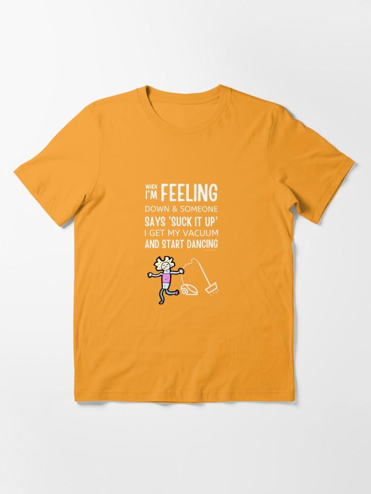 Alternate view of Start Dancing Vacuum Dance Vacuuming Fun Cleaning Lady Humor Essential T-Shirt