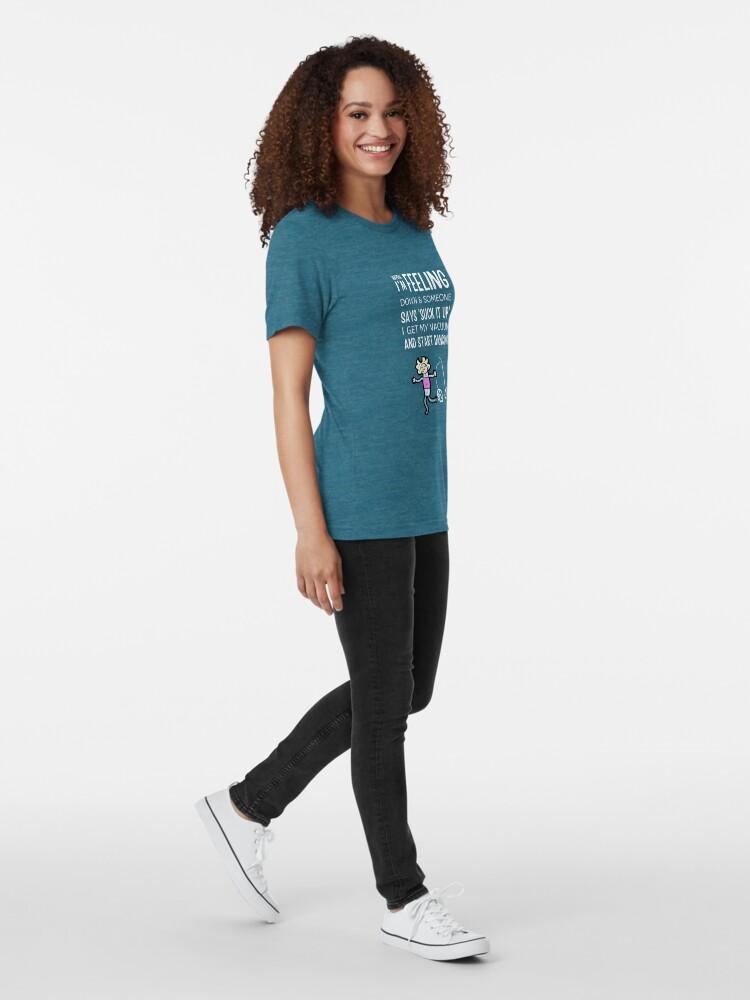 Alternate view of Start Dancing Vacuum Dance Vacuuming Fun Cleaning Lady Humor Tri-blend T-Shirt