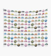 Pokemon Pokeball White Wall Tapestry