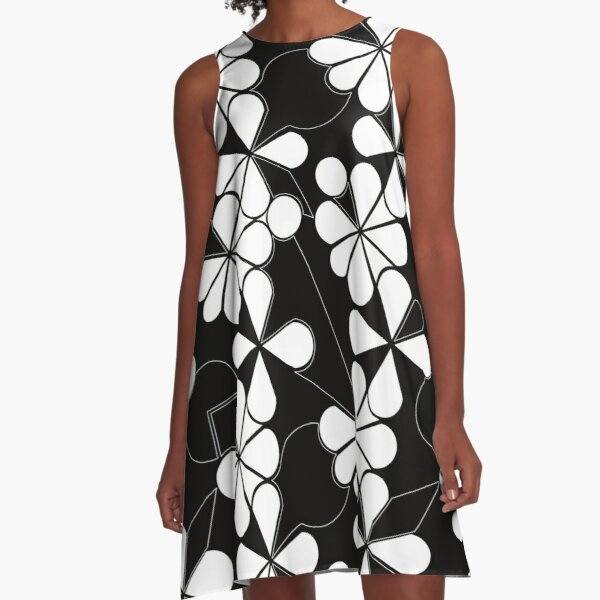 white in black flowers A-Line Dress