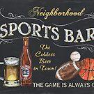 Chalkboard Sports Bar Sign by Debbie DeWitt