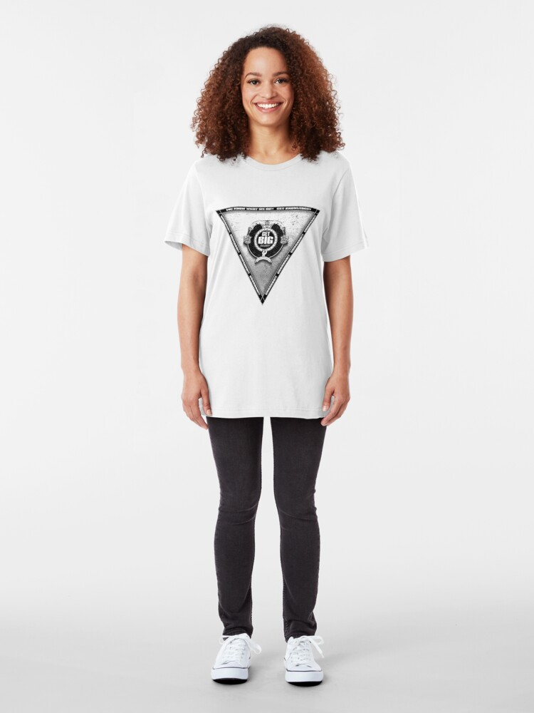 Alternate view of Get Big Pyramid Flip - WHITE Slim Fit T-Shirt