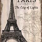 Vintage Travel Poster Paris by Debbie DeWitt