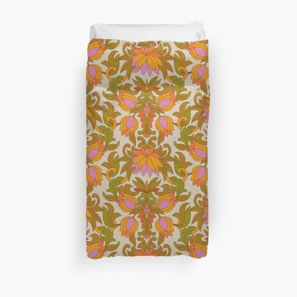 Motif Vintage rétro orange, fleurs roses et feuilles vertes des années 1960 Housse de couette