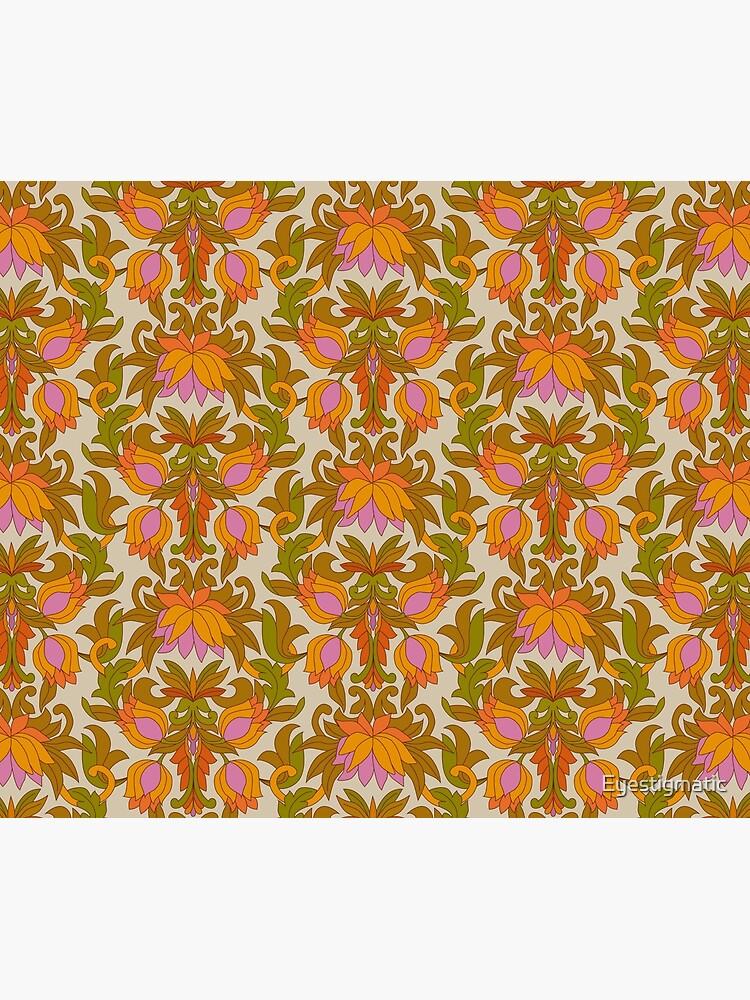 Orange, Pink Flowers and Green Leaves 1960s Retro Vintage Pattern by Eyestigmatic