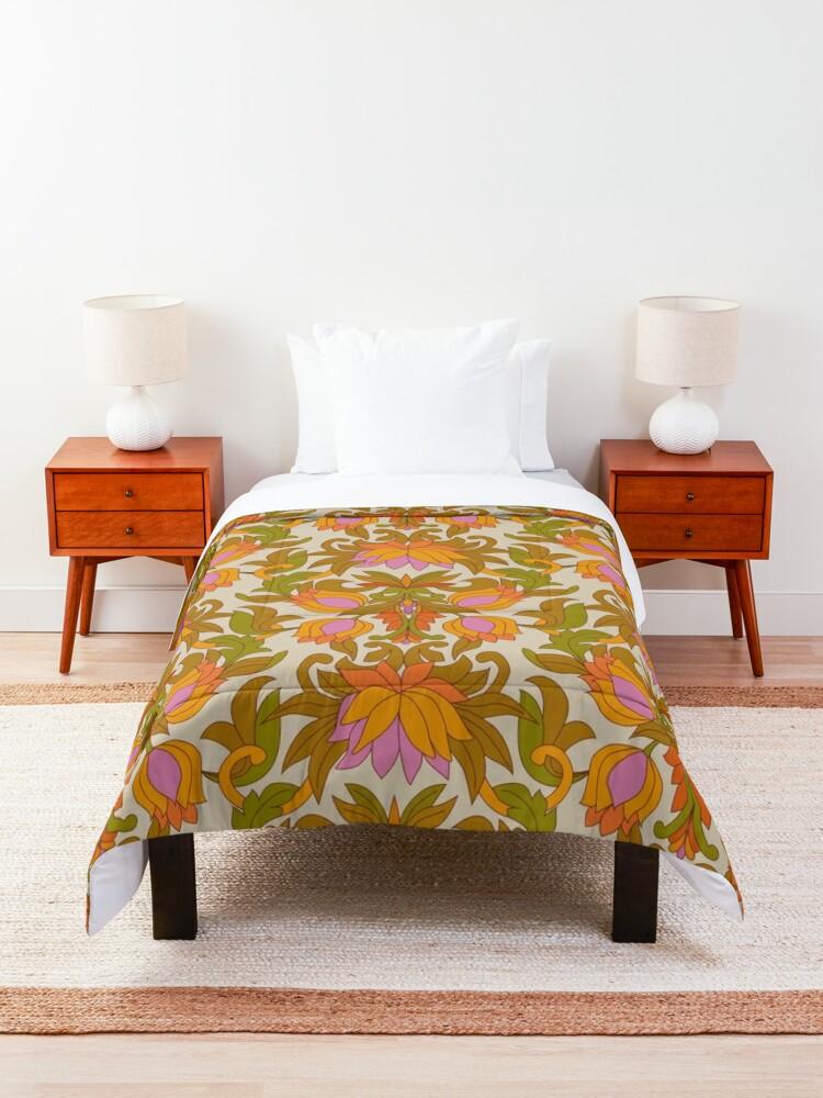 Alternate view of Orange, Pink Flowers and Green Leaves 1960s Retro Vintage Pattern Comforter