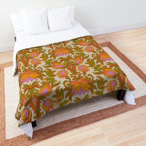 Orange, Pink Flowers and Green Leaves 1960s Retro Vintage Pattern Comforter
