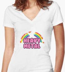heavy metal parody funny unicorn rainbow Women's Fitted V-Neck T-Shirt