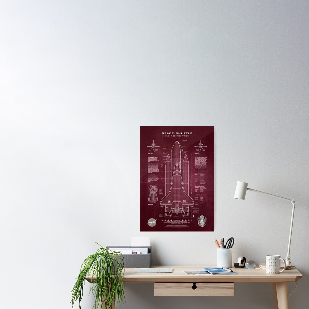 NASA Space Shuttle Blueprint in High Resolution (red)  Poster