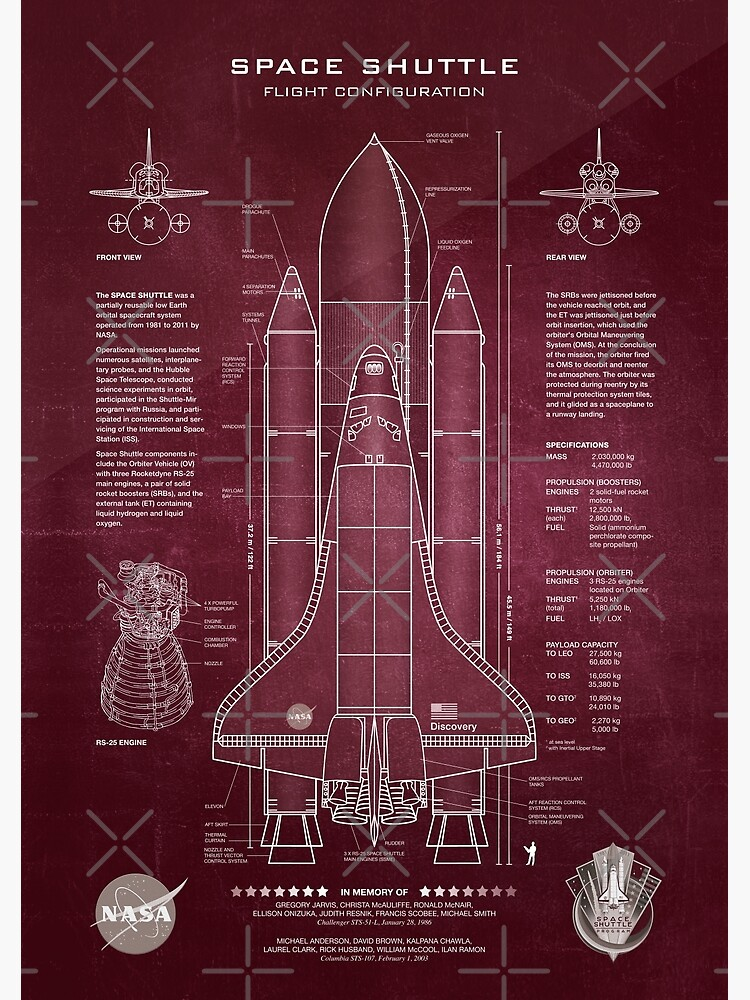 NASA Space Shuttle Blueprint in High Resolution (red)  by RHorowitz