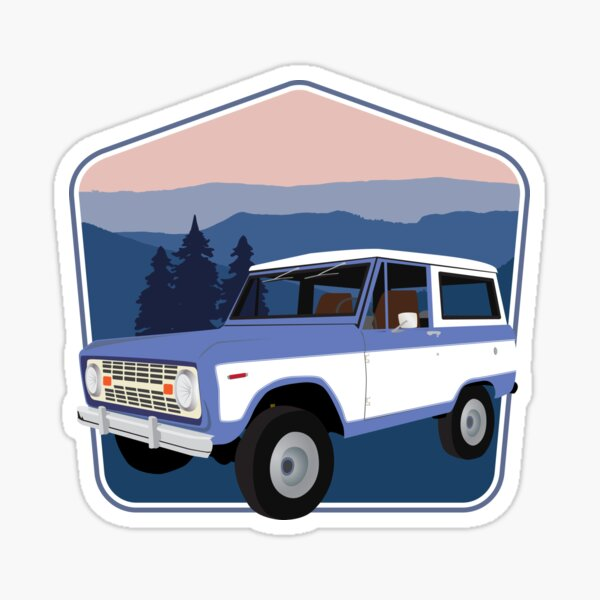 Vintage Blue Bronco in the Smoky Mountains Sticker