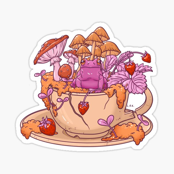 Sapphic Frog Toadstool Tea Cup Sticker