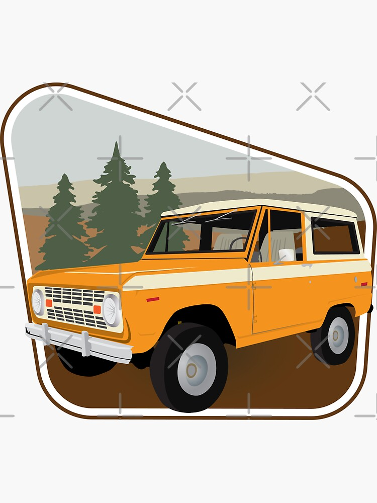 Vintage Orange Bronco Against a Forestry Backdrop by brainthought