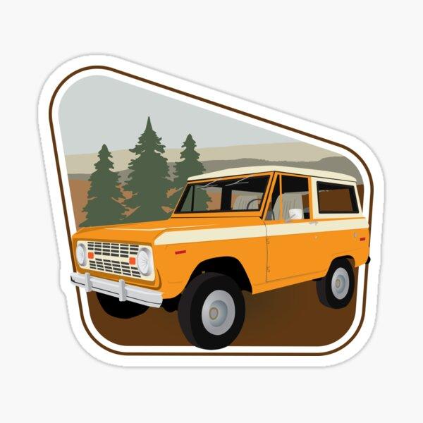Vintage Orange Bronco Against a Forestry Backdrop Sticker