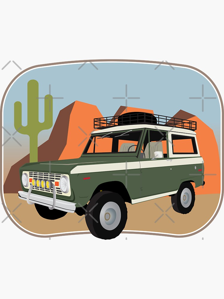 Vintage Green and White Bronco in the Sonora Wilderness by brainthought