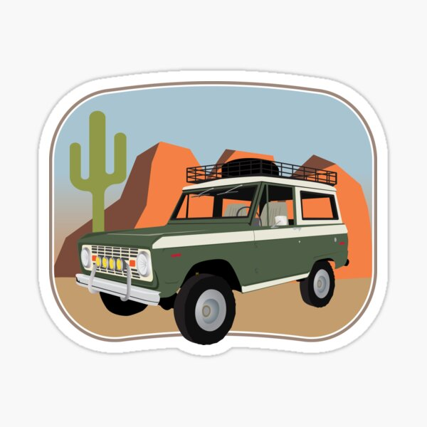 Vintage Green and White Bronco in the Sonora Wilderness Sticker