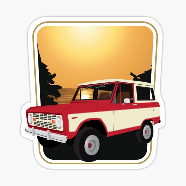 Vintage Red and White Bronco on the West Coast (Sequoia National Park) Sticker