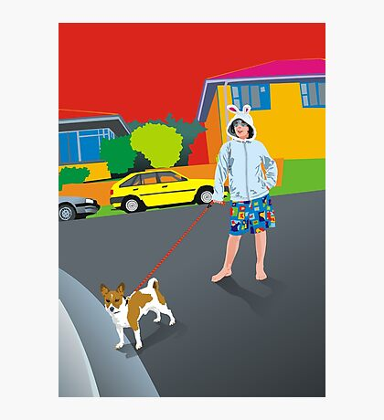 Bob and the Mystery Rabbit Girl Photographic Print