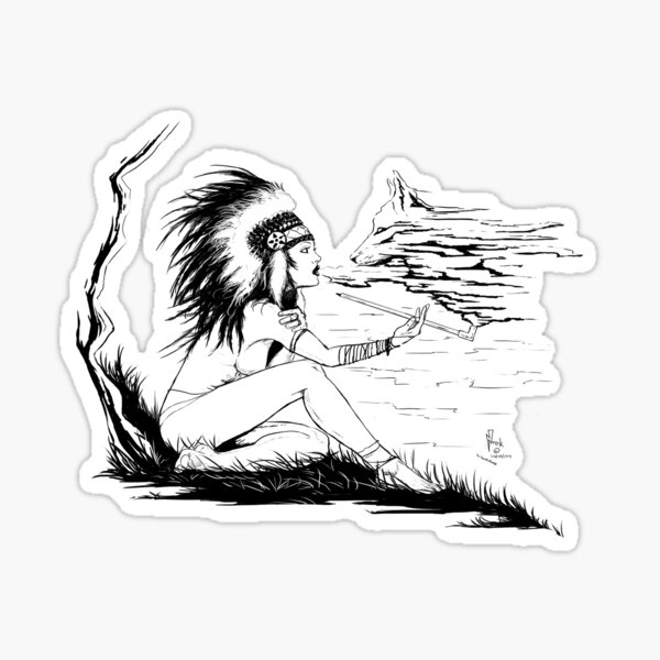 Native American Girl ink Sticker