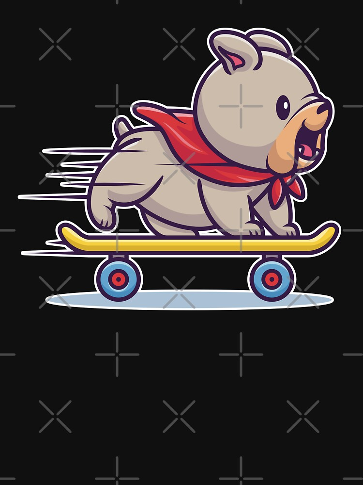 Cute British Bulldog Puppy On A Skateboard by Ruftup