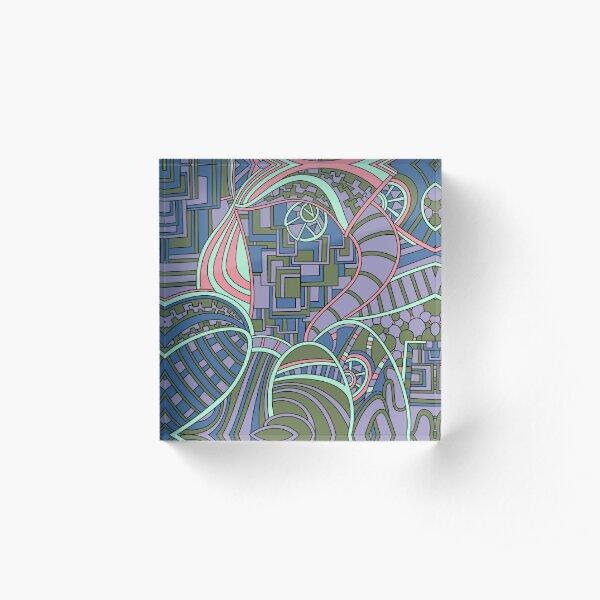 Wandering Abstract Line Art 48: Green Acrylic Block