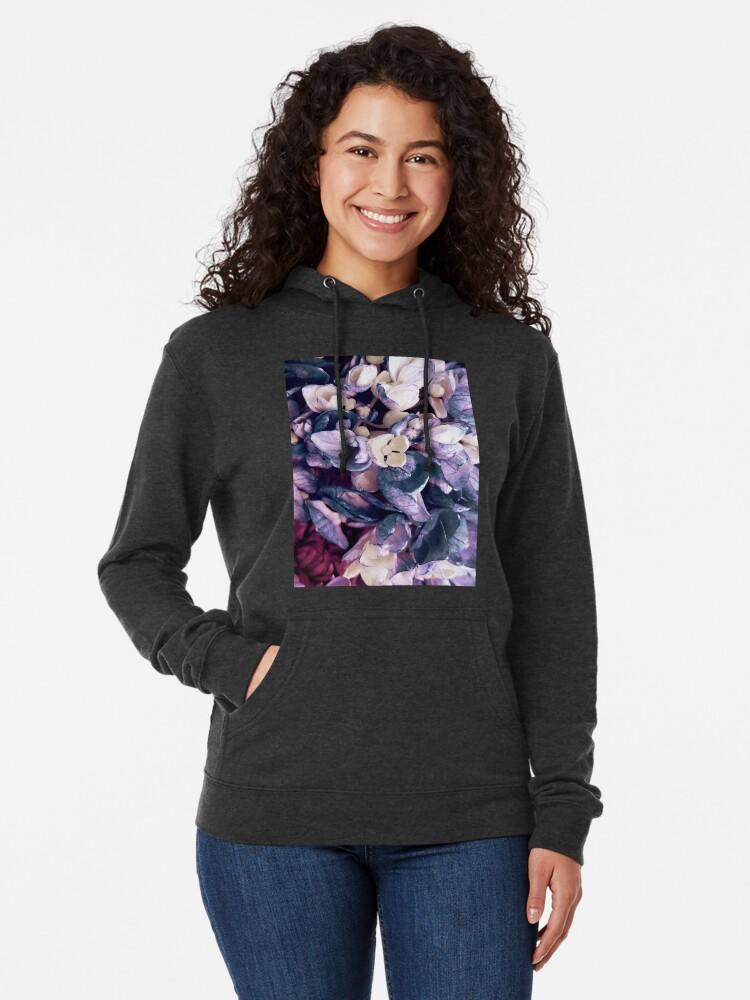 Alternate view of Purple Hydrangea Fields - Floral Bouquet Lightweight Hoodie