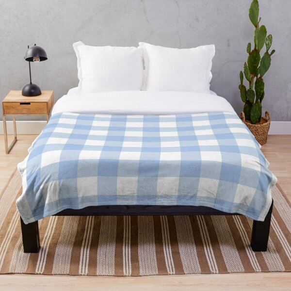 blue and white gingham Throw Blanket