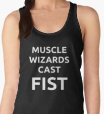 Muscle wizards cast FIST - white text Women's Tank Top