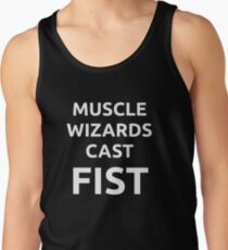 Muscle wizards cast FIST - white text Tank Top