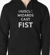 Muscle wizards cast FIST - white text Zipped Hoodie