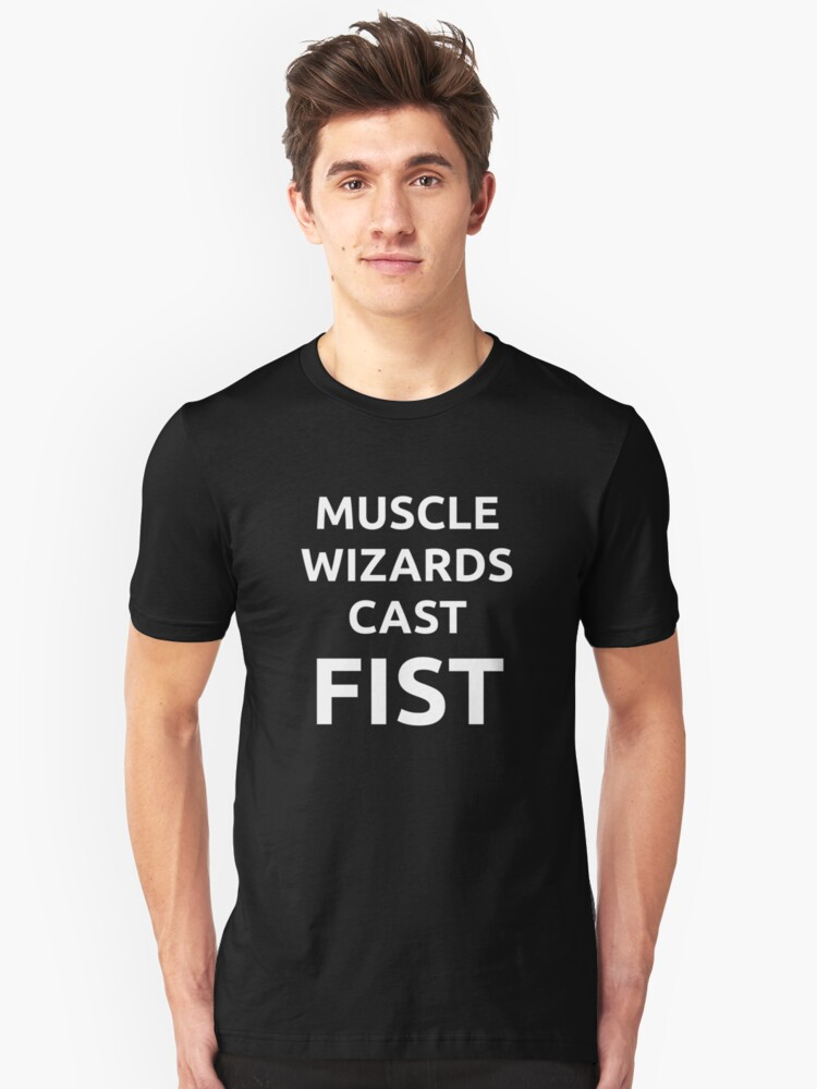 Muscle wizards cast FIST - white text by jandii