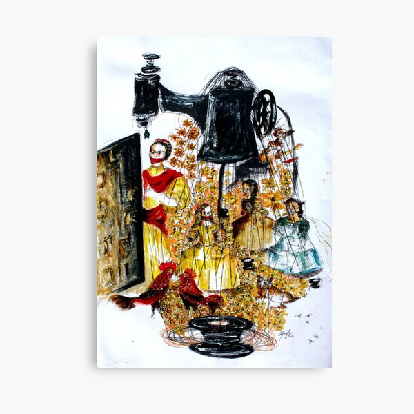 Frida and the Meninas sew, Olimpya Ortiz Canvas Print