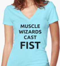 Muscle wizards cast FIST - black text Women's Fitted V-Neck T-Shirt