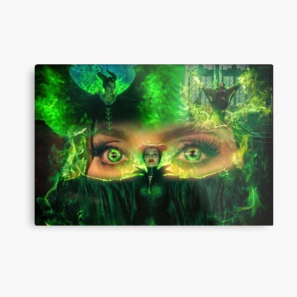 Maleficent Green Fire Eyes Metal Print