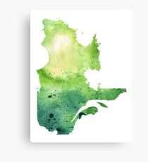 Watercolor Map of Quebec, Canada in Green Canvas Print