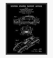 Automobile Body Patent - Black Photographic Print
