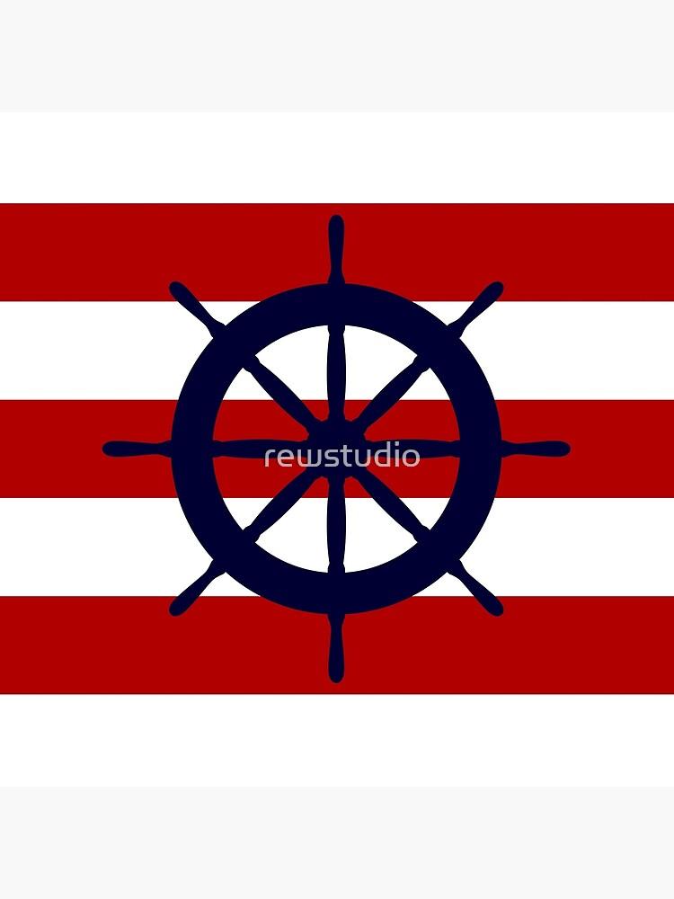 Lenkrad des nautischen dunkelblauen Schiffes auf roten Streifen von rewstudio