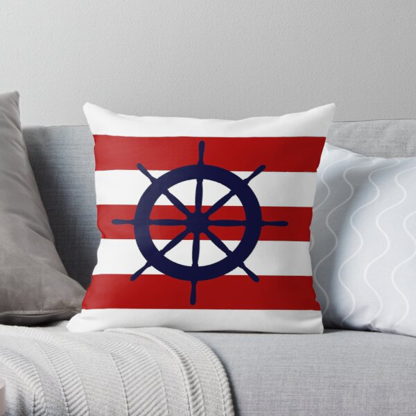 Nautical Navy Blue Ship's Steering Wheel On Red Stripes Throw Pillow