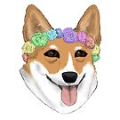 Corgi Flower Child by alyssadyerart