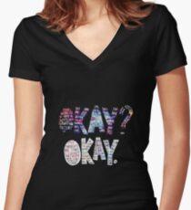 Okay Okay Nebula  Women's Fitted V-Neck T-Shirt