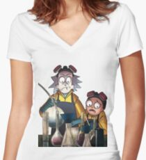 Breaking Bad Rick and Morty Women's Fitted V-Neck T-Shirt