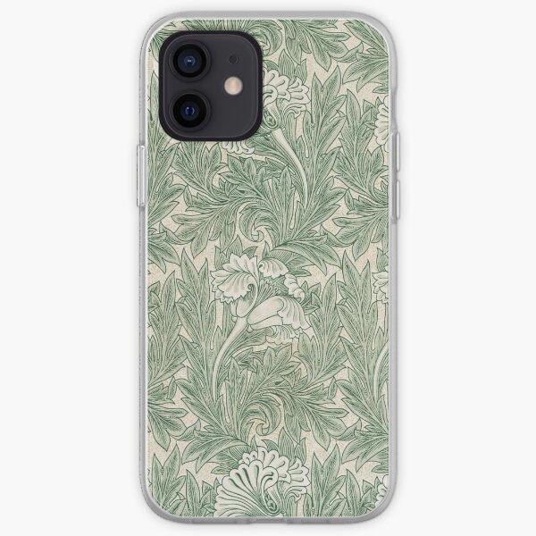 William Morris Vintage Green Tulip Floral Pattern iPhone Soft Case