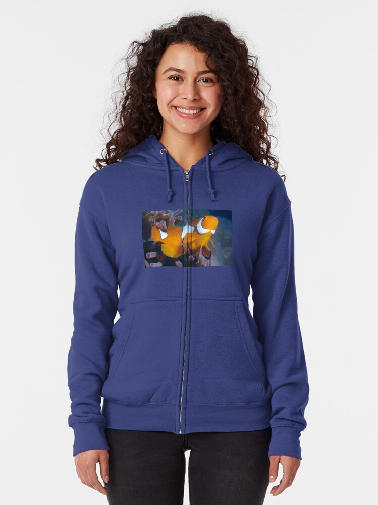 Alternate view of Clown Anemonefish Zipped Hoodie