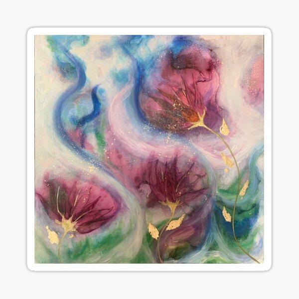 'Eternal Flow' abstract floral art. Sticker