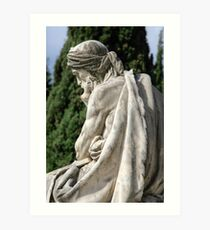 Statue of a young grieving man at the Monumental Cemetery of Staglieno (Cimitero monumentale di Staglieno), Genoa, Italy Art Print