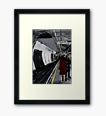 London Underground Urban Cityscape Subway Station Red Coat Woman Contemporary Acrylic Painting Framed Print